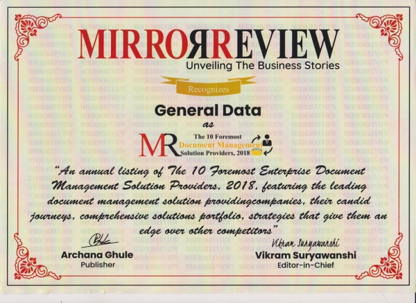 General Data gets featured in Mirror Review Magazine - The 10 Foremost Enterprise Document Management Solution Providers, 2018