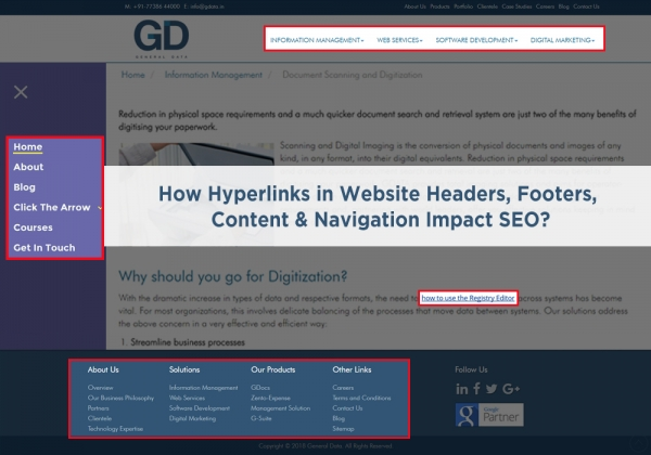 How Hyperlinks in Website Headers, Footers, Content & Navigation Impact SEO